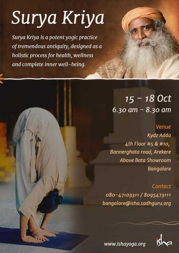 Isha Sadhguru Yogasana Programs Surya Kriya Kydz Adda